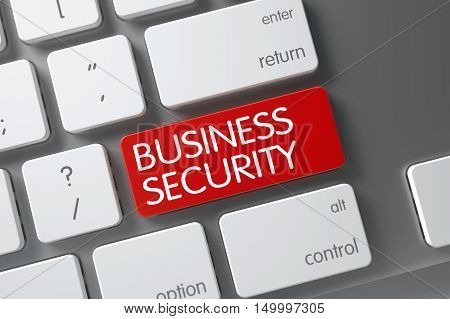 Business Security Concept Slim Aluminum Keyboard with Business Security on Red Enter Keypad Background, Selected Focus. 3D.