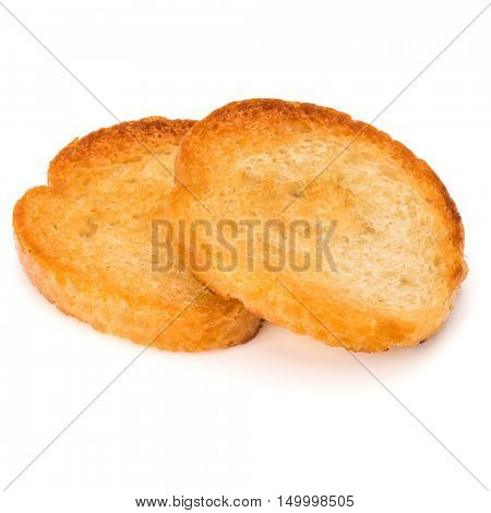 two crusty bread toast slices isolated on white background cutout