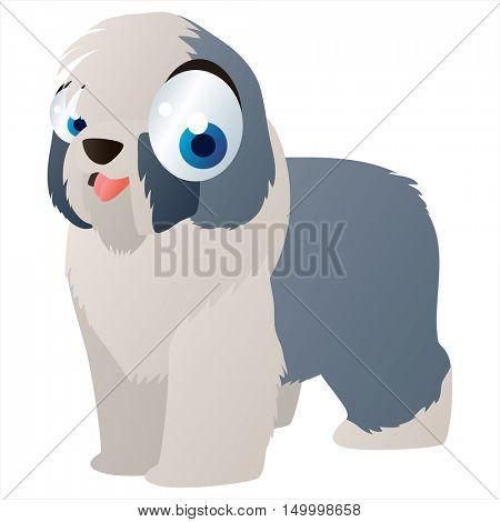 vector comic cute animal illustration. Comic funny cool colorful Bobtail Dog