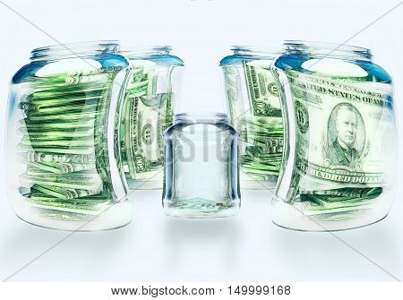 Glass flasks with money and empty flask - wealth and poverty concept. 3D illustration