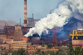 Steel mill Metallurgy plant. Heavy industry factory. Steel factory with smog. Pipes with smoke. Metallurgical plant. steel works iron works. Heavy industry. Ecology problems atmospheric pollutants poster