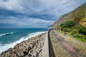Jardim do Mar town embankment, popular walking path near the Atlantic ocean shore. Madeira island, Portugal. poster