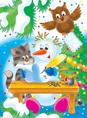 new year. christmas. snowball, cat and owl write the letter to santa. poster