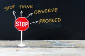 Mini STOP sign as Stop Think Observe and Proceed hand drawing over chalkboard poster