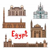 Egypt historic landmarks and sightseeings, famous showplaces. Vector detailed icons of Saint Virgin Mary Church, Abu al-Abbas al-Mursi, Al-Hussein, Al-Azhar Mosque, Mosque-Madrassa of Sultan Hassan for souvenir decoration elements poster