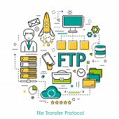 Vector Round Concept of File Transfer Protocol - FTP. Line Art Infographic on white background poster
