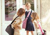 Three schoolgirls outdoors near the door of school building poster