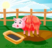 Conceptual illustration of butcher products of meat, pig sausage. a piglet standing in mud and drinking from trough. poster