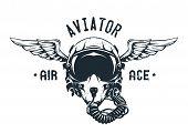 Fighter Pilot Helmet. Emblem t-shirt design. Vector illustration. poster