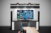 Television broadcast multimedia composition in room and remote control. Tv screen video broadcast internet concept poster