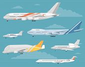 Modern types of aircraft. Airliners, personal jets, airplanes, cargo plane vector illustrations. Detailed airplanes illustration. Six airplanes modifications. Collection of reactive passenger and airfreighter plane. For irline ad. Different airplanes type poster