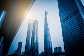 Shanghai Tower, Shanghai World Financial Center and Jin Mao Tower,tallest buildings in shanghai,blue toned,china,asia. poster