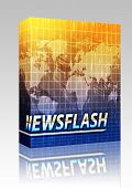 Software package box Latest breaking news newsflash splash screen announcement illustration poster