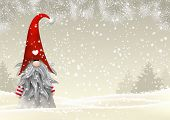 Nisser in Norway and Denmark, Tomtar in Sweden or Tonttu in Finnish, Scandinavian folklore elves, nordic christmas motive, Tomte standing in winter landscape, vector illustration, eps 10 with transparency poster