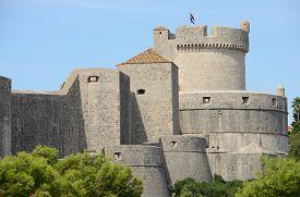 Walls of Dubrovnik with Minceta Tower (Croatia).