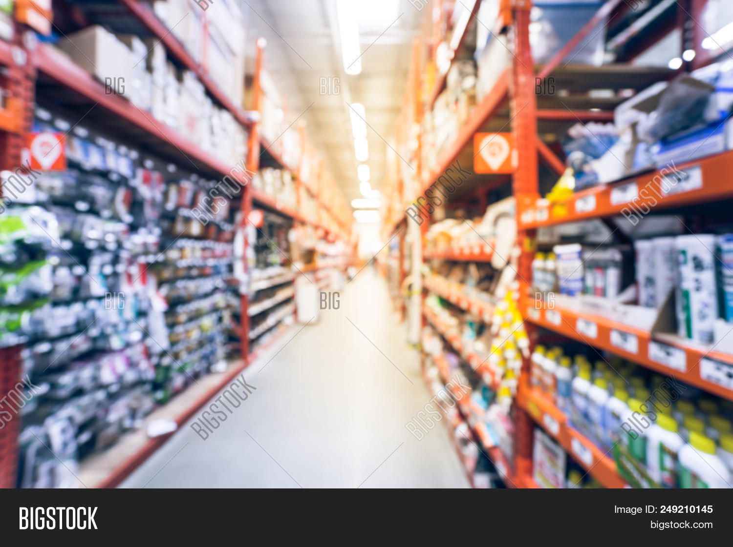 Abstract Blurred Door Hardware, Weather Proofing, Lockset At Hardware Store