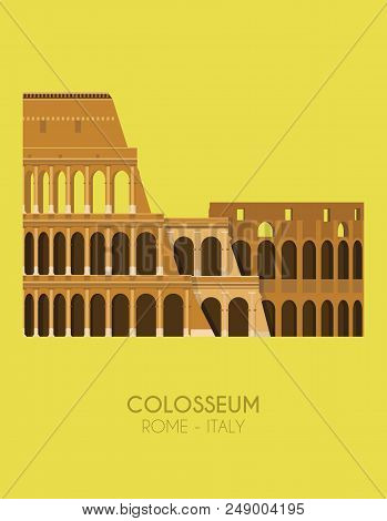 Modern Design Poster With Colorful Background Of The Colosseum (rome, Italy). Vector Illustration
