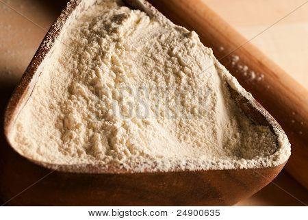 Wooden Pot With Flour