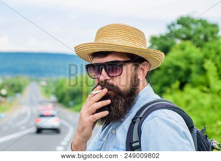 Cigarette Before Long Journey. Traveler Stylish Hipster Take Brake.man With Beard And Mustache In St