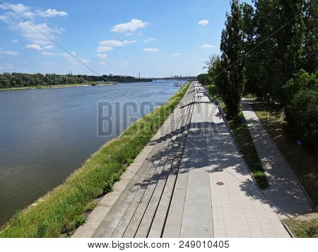New Warsaw Vistula River Boulevards Stairs Avenue in Warsaw, Poland poster