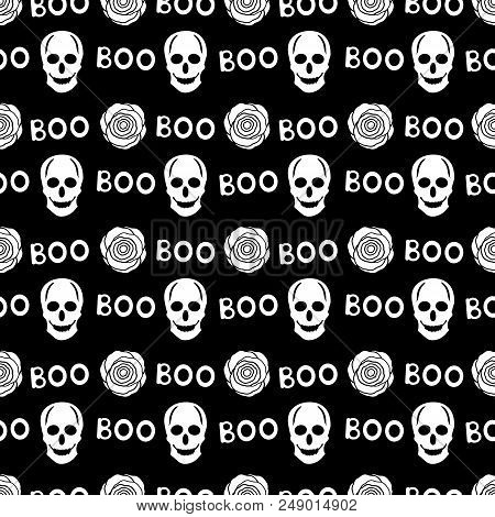 Seamless Pattern With White Skulls, Words Boo And Roses On The Black Background. Vector Illustration