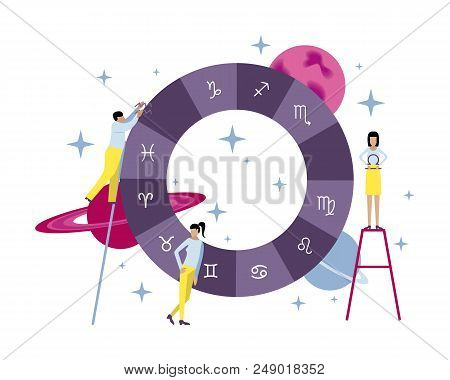 Vector Illustration With Small People. Creation Of The Natal Chart And Horoscope. Planets, Stars, As