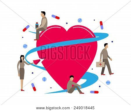 Vector Illustration For Cardiology. Little Men Treat Heart Tablets And Drugs.