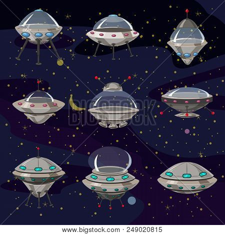 Set Flying Saucer, Spaceship Ufo Illustration Cartoon Funny, Unidentified Spaceship And Spacecrafts