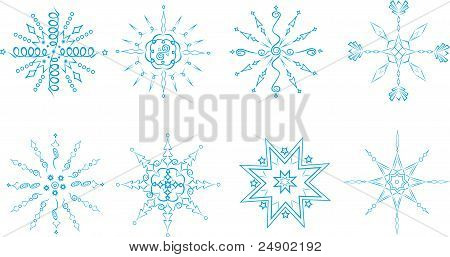 Vector set of blue snowflakes on a white background.
