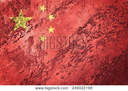 Grunge China Flag. Chines Flag With Grunge Texture.