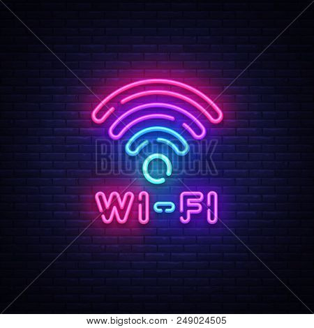 Wifi Neon Sign Vector. Wifi Symbol Neon Glowing Letters Shining, Light Banner, Neon Text. Vector Ill