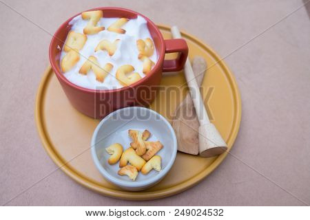 A Cup Of Hot Milk With Biscuit, Homemade Drink For Kid