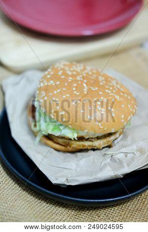 Classic Burger Takeaway Fast Food On Black Dish