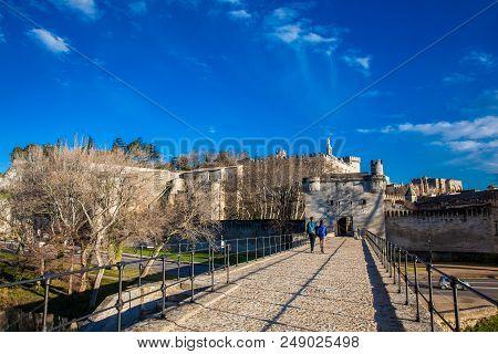 Avignon, France - March, 2018: Famous Avignon Bridge Also Called Pont Saint-benezet At Avignon Franc