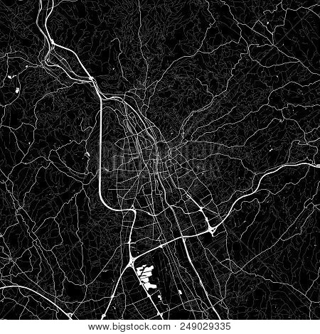 Area Map Of Graz, Austria. Dark Background Version For Infographic And Marketing Projects. This Map