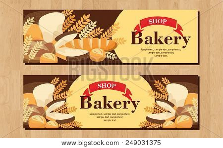Bread, Buns Banner. Loaves In A Round For Bakery Logo Or Fresh Pastries Advertising, Bread, Cookies,