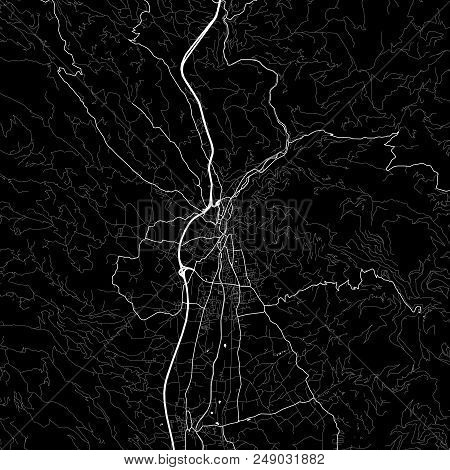 Area Map Of Wolfsberg, Austria. Dark Background Version For Infographic And Marketing Projects. This