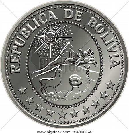 Vecor Bolivian Money Silver Coin Centavo Fifty