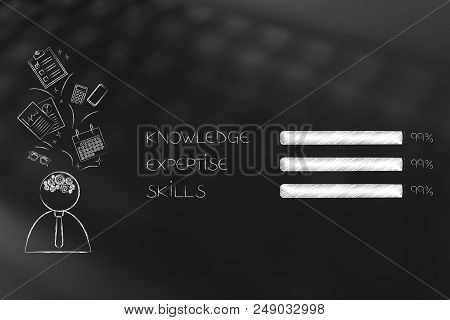Business Start-up Success Conceptual Illustration: Business Man With Office Objects Flying Above His
