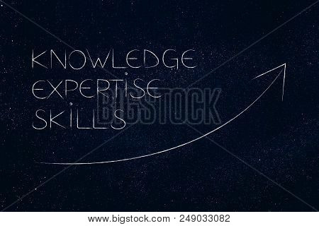 Knowledge Expertise And Skills Conceptual Illustration: Text With Stats Arrw Showing Positive Growth