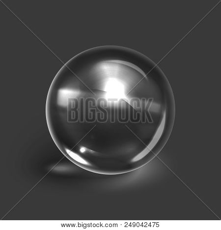 Stock Vector Illustration Realistic Transparent Glass Ball, Isolated On A Gray Background. Glass Sph