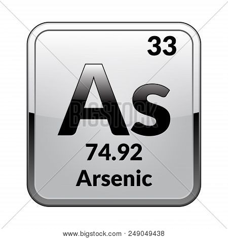Arsenic symbol.Chemical element of the periodic table on a glossy white background in a silver frame.Vector illustration. poster