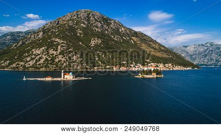 Aerial View Of The Our Lady Of The Rocks Church And Island Of Sveti Djordje In The Kotor Bay Near Pe