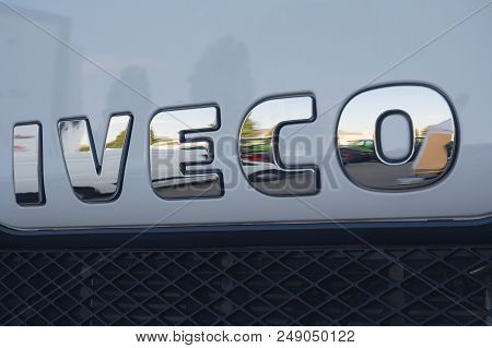Kiev, Ukraine - June 08, 2018: Logotype Of The Truck Iveco On The Car Cabin