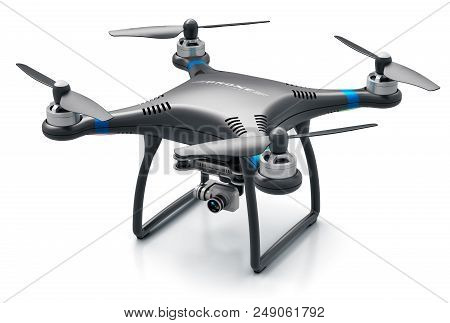 Creative Abstract 3d Render Illustration Of Professional Remote Controlled Wireless Black Rc Quadcop