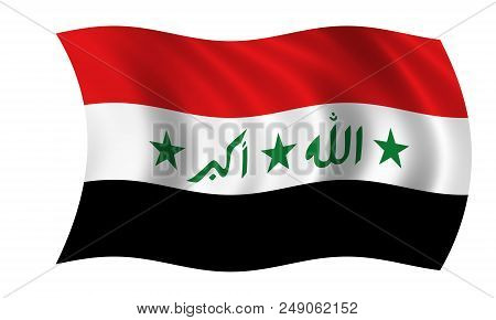 Waving Iraqi Flag In The Colors Red, White And Black