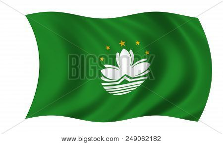 Waving Macao Flag In The Colors Green And White