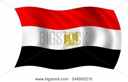 Waving Egyptian Flag In The Colors Red, White And Black