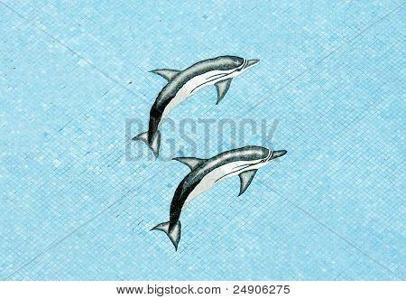 Pool Mosaic Dolphins