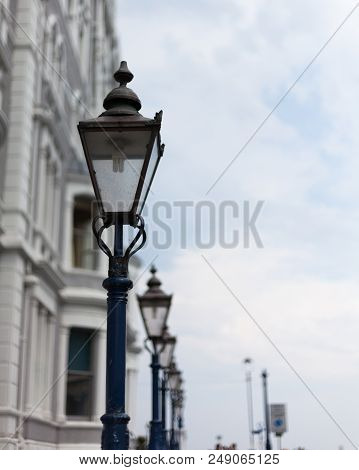 Light Post On The Road. Street Light Post. Street Lamp On The Road. Cast Iron Street Lamp. Designer